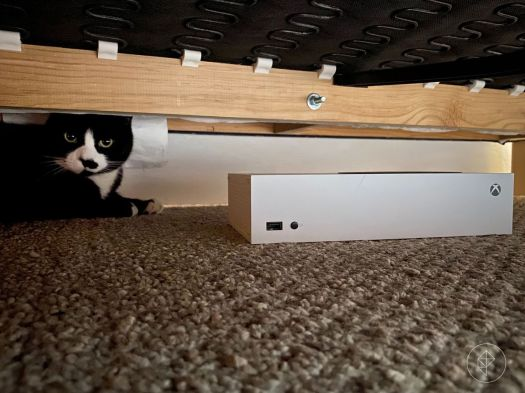 Photo of an Xbox-S console under a bed next to a black & white cat