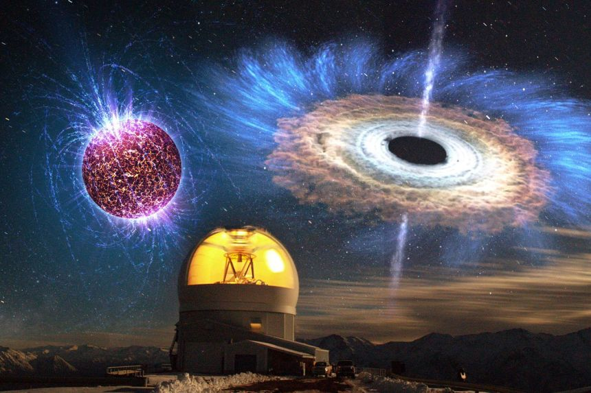 <em>An artistic rendering of the black hole or neutron star observed by the Keck Observatory</em>