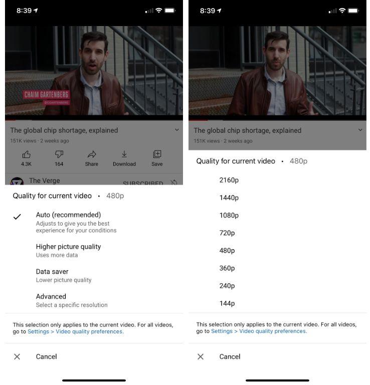 YouTube resolutionsSettings