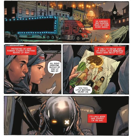 """A trailer-hauling semi truck strung with lights pulls out of a small town. """"All right everyone,"""" says its driver, as her brother pulls on a Daft Punk-style helmet, """"Buckle up. Stay lit and sit."""" Nocterra #1, Image Comics (2021)."""