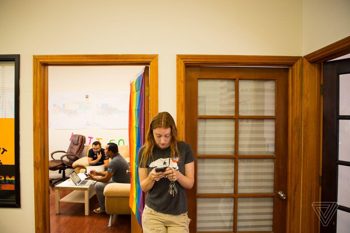 Jess Phoenix at campaign headquarters