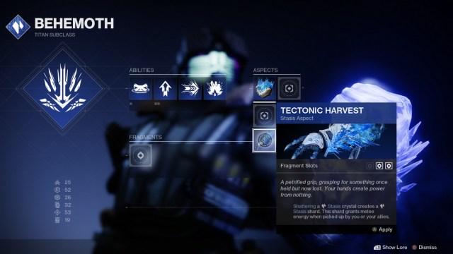 Titan Stasis Tectonic Harvest Aspect