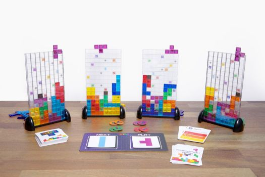 All four vertical play board included with Tetris, a new strategy board game.