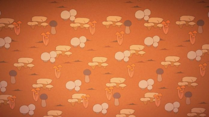 An orange wallpaper with a simple mushroom print on it