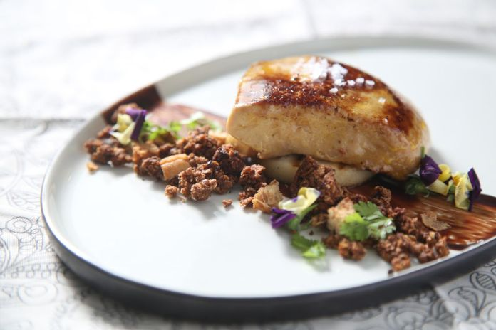 Pan Roasted Foie Gras from Restaurant Marbling cuisine at Causeway Bay. 15JAN16 SCMP/Sam Tsang
