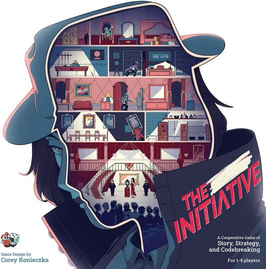 Cover art for The Initiative shows a silhouette of a spy, her face cut away to reveal the interior of an office building.