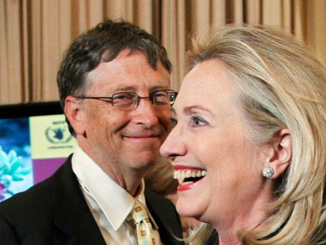 Bill Gates and Hillary Clinton attend a party in 2011.