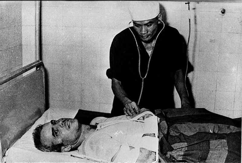 A photo taken in 1967 shows US Navy pilot John McCain being examined by a North Vietnamese doctor. McCain was captured in 1967 at a lake in Hanoi after his Navy warplane was been downed by the North Vietnamese army during the Vietnam War.