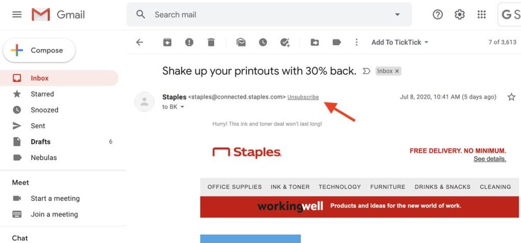 """Công cụ AI của Gmail đánh dấu các email quảng cáo bằng liên kết """"Hủy đăng ký""""."""