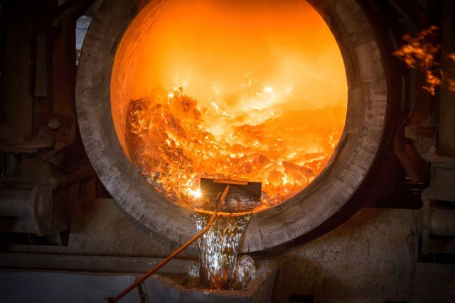 Furnace at an aluminum foundry.