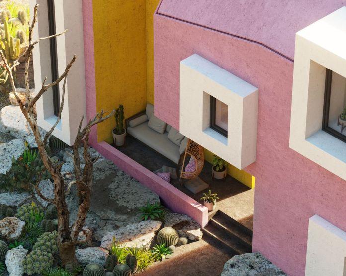 Рендеринг парадного крыльца розово-белого дома.
