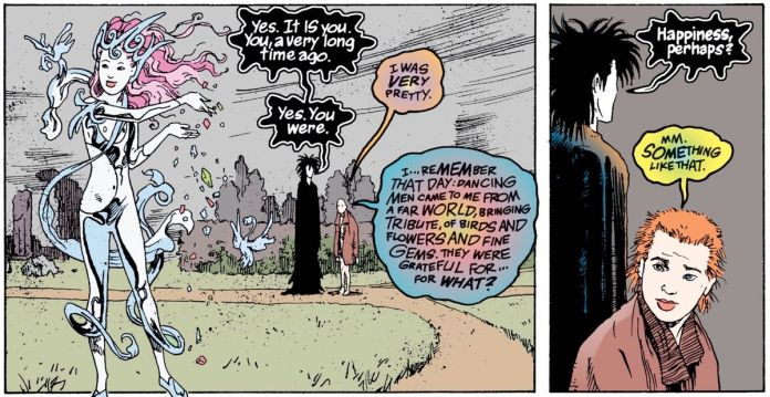 Delirium and Dream talking in the Brief Lives arc of Sandman.