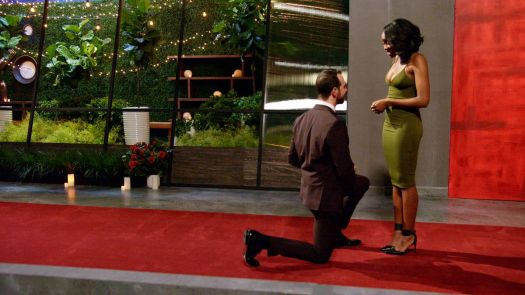 A Love Is Blind contestant, a bearded white man in a suit, kneels to propose to his partner, a black woman in a form-fitting green dress.