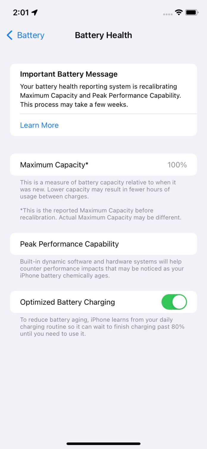 """The """"Battery Health"""" page will let you know if you need to replace your battery."""