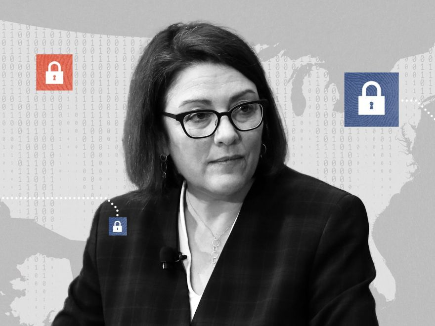 A picture of Rep. Suzan DelBene superimposed on a United States map with illustrations of padlocks on it.