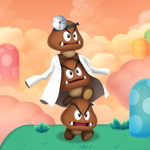 Three Goombas wearing a lab coat and head mirror in artwork from Dr. Mario World