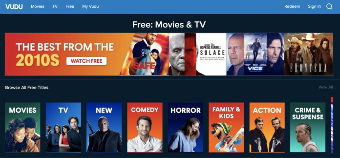 A screenshot of the Vudu free movies and TV site