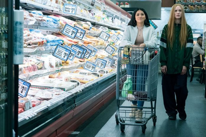 Gina Rodriguez and Evan Rachel Wood go grocery shopping in Kajillionaire