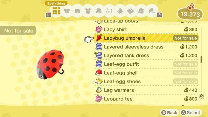 An Animal Crossing: New Horizons shop menu for a Ladybug Umbrella