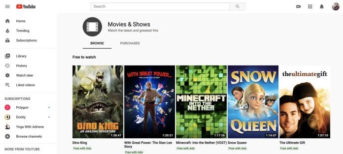 A screenshot of the YouTube free movies platform