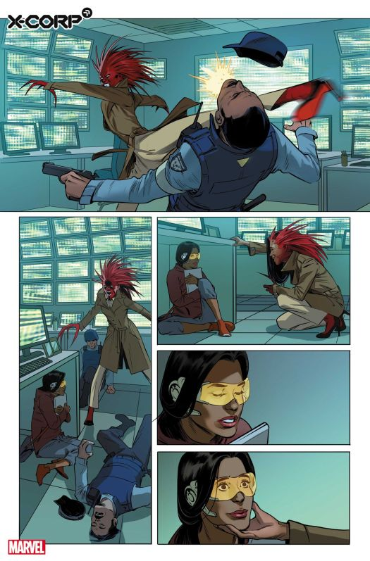 Monet St. Croix rescues Trinary in preview art for X-Corp #1 , Marvel Comics (2021)