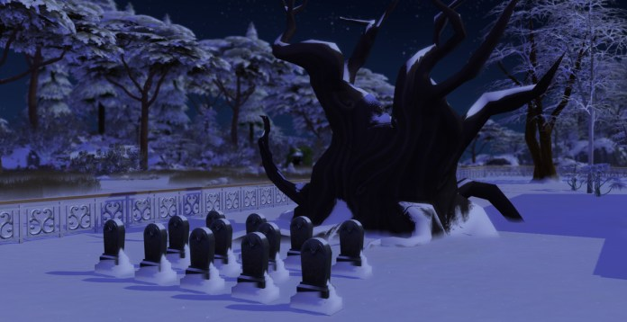 The Sims 4 - a row of gravestones sitting beneath a gnarled oak tree