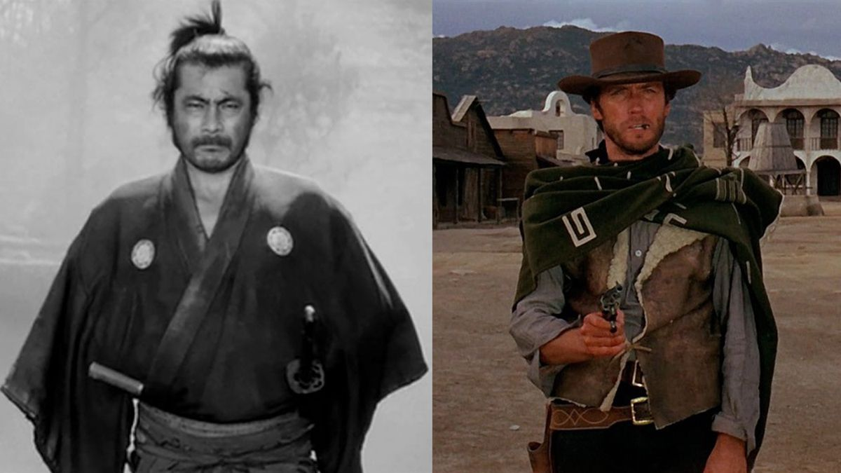 A composite shot of Toshiro Mifune in Yojimbo and Clint Eastwood in A Fistful of Dollars
