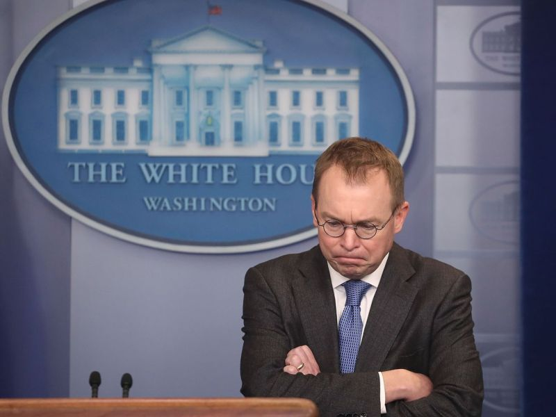 Mick Mulvaney addresses reporters in Washington, DC, on January 19, 2018.