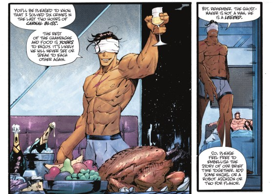 "Ghost-Maker, hanya mengenakan pakaian dalam ketat dan penutup mata, bersulang untuk teman seksualnya baru-baru ini - seorang pria dan seorang wanita, keduanya masih di tempat tidur.  ""Anda akan senang mengetahui bahwa saya menyelesaikan enam kejahatan dalam dua jam terakhir kebahagiaan duniawi [...] ingat, Pencipta Hantu bukanlah manusia, dia adalah legenda.  Jadi jangan ragu untuk memperindah cerita waktu kita bersama, tambahkan beberapa ninja, ""dalam Batman # 107, DC Comics (2021)."