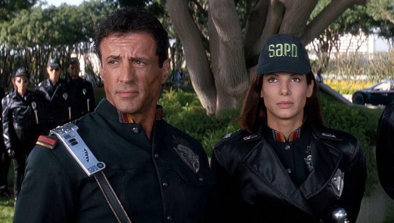 Sylvester Stallone and Sandra Bullock in 1993's Demolition Man