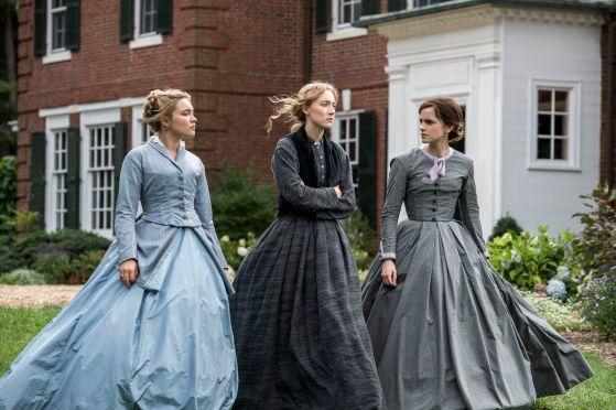 Florence Pugh, Saoirse Ronan y Emma Watson en Little Women.  Imágenes de Sony