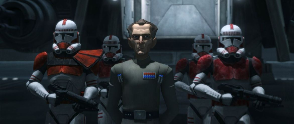 Admiral Tarkin alongside clone troopers in the animated series Star Wars: The Bad Batch