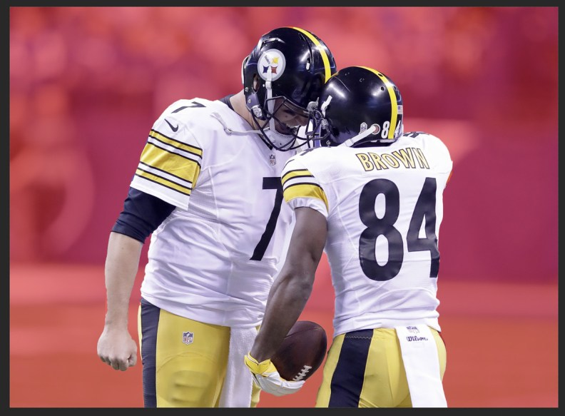The original picture of Ben Roethlisberger and Antonio Brown being edited and refined inside PhotoShop.