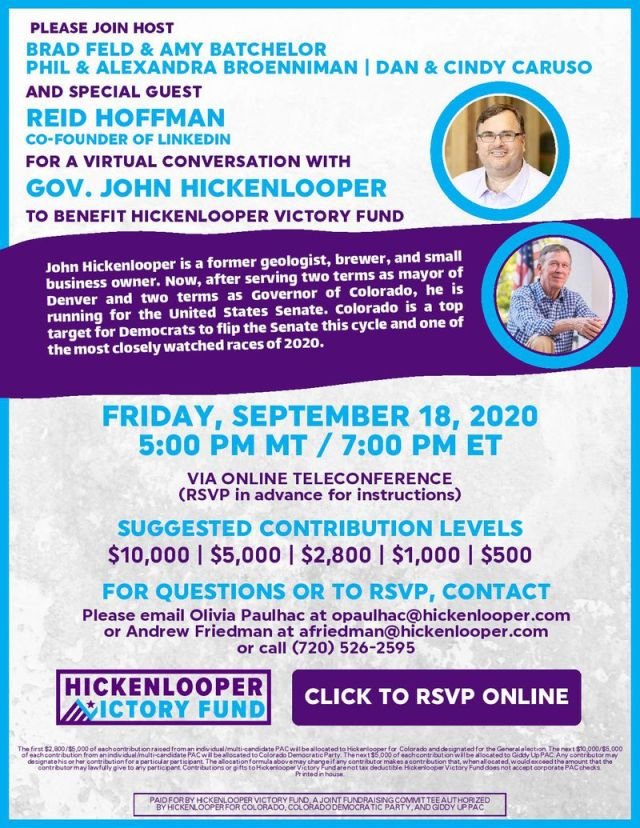 Reid Hoffman fundraiser invitation for John Hickenlooper