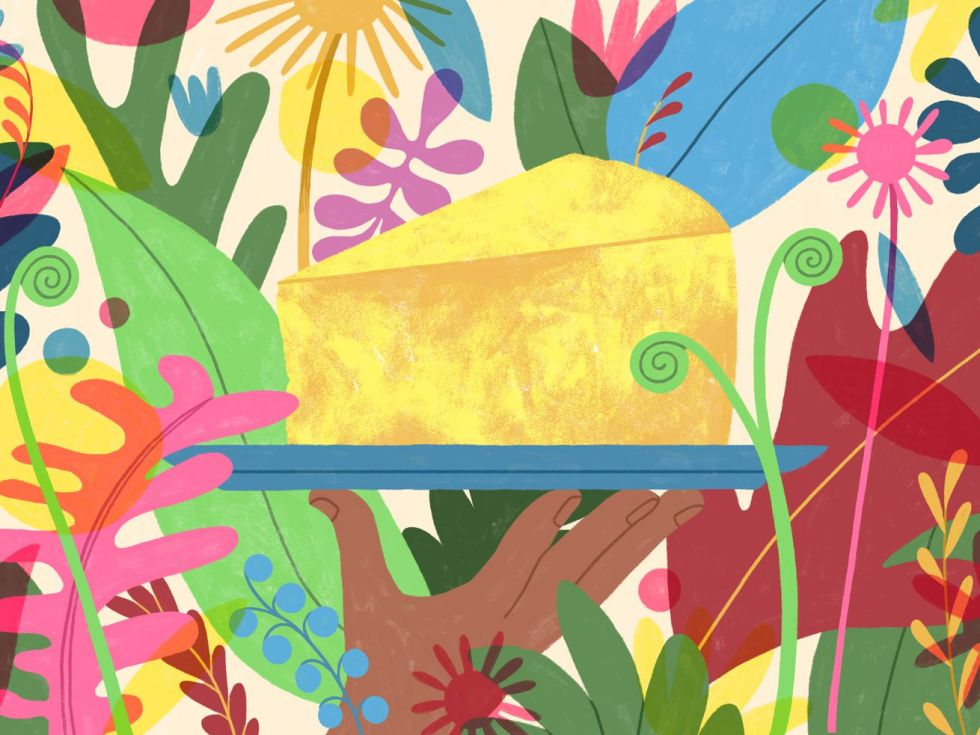 An illustration of a hand holding a wedge of vegan cheese perched on a blue tray, surrounded by colorful plants.