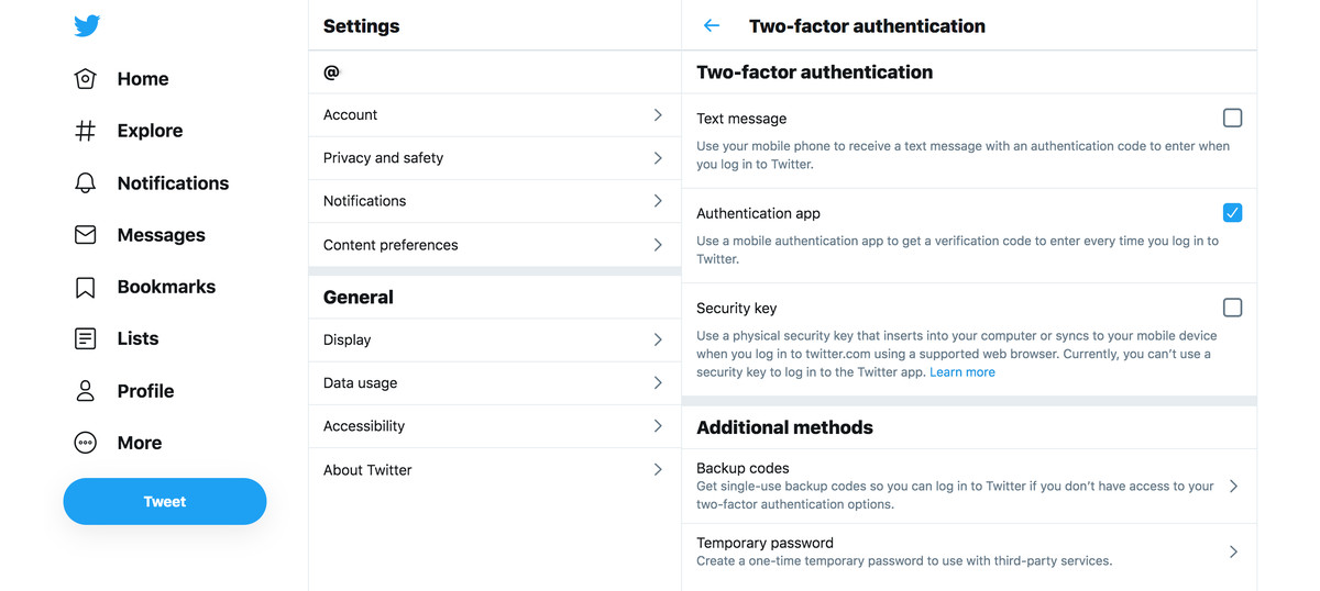 Twitter lets you use a text message, an app, or a security key for authentication.