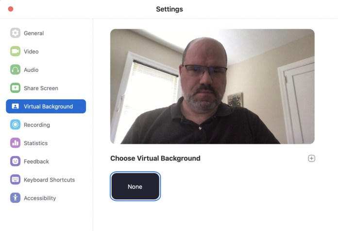 screen showing Zoom's virtual background option