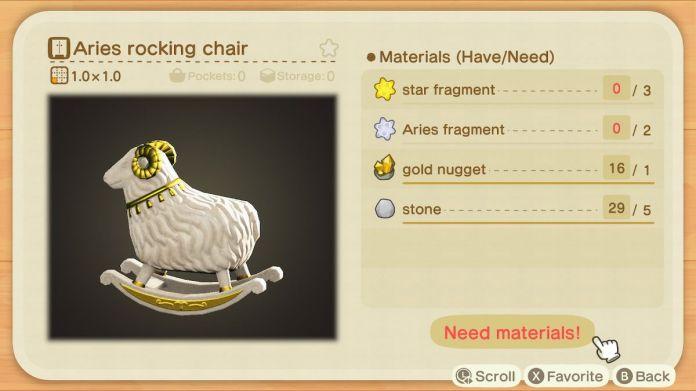 A recipe list for an Aries Rocking Chair
