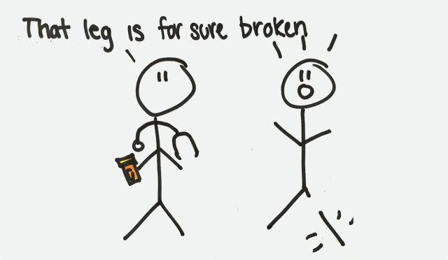 """That leg is for sure broken"""