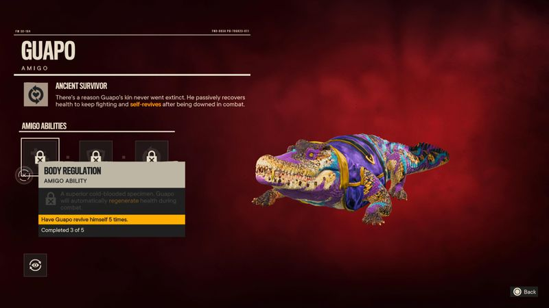 An information screen about the Amigo Guapo in Far Cry 6