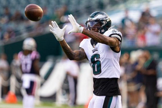 Philadelphia Eagles wide receiver DeVonta Smith (6) warms up before action against the New England Patriots at Lincoln Financial Field.
