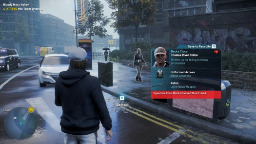 Watch Dogs: Legion - a profile for a citizen on the streets revaled a grudge
