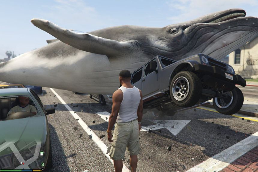 A whale spawned with one of Grand Theft Auto V's non-cheating, single-player mods
