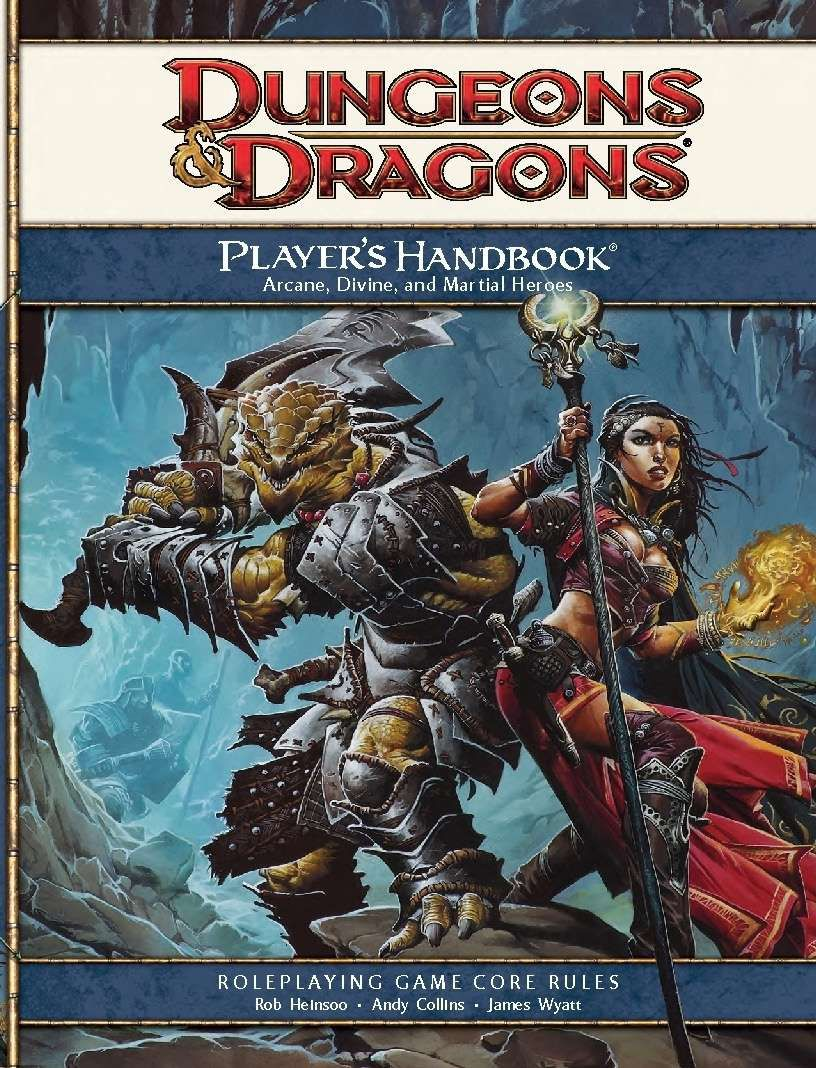 A dragonborn and a sorceress stand ready for battle in a dim cave.