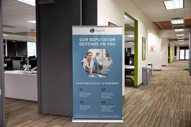 A hallway in Cognizant's content moderation site in Tampa, FL.