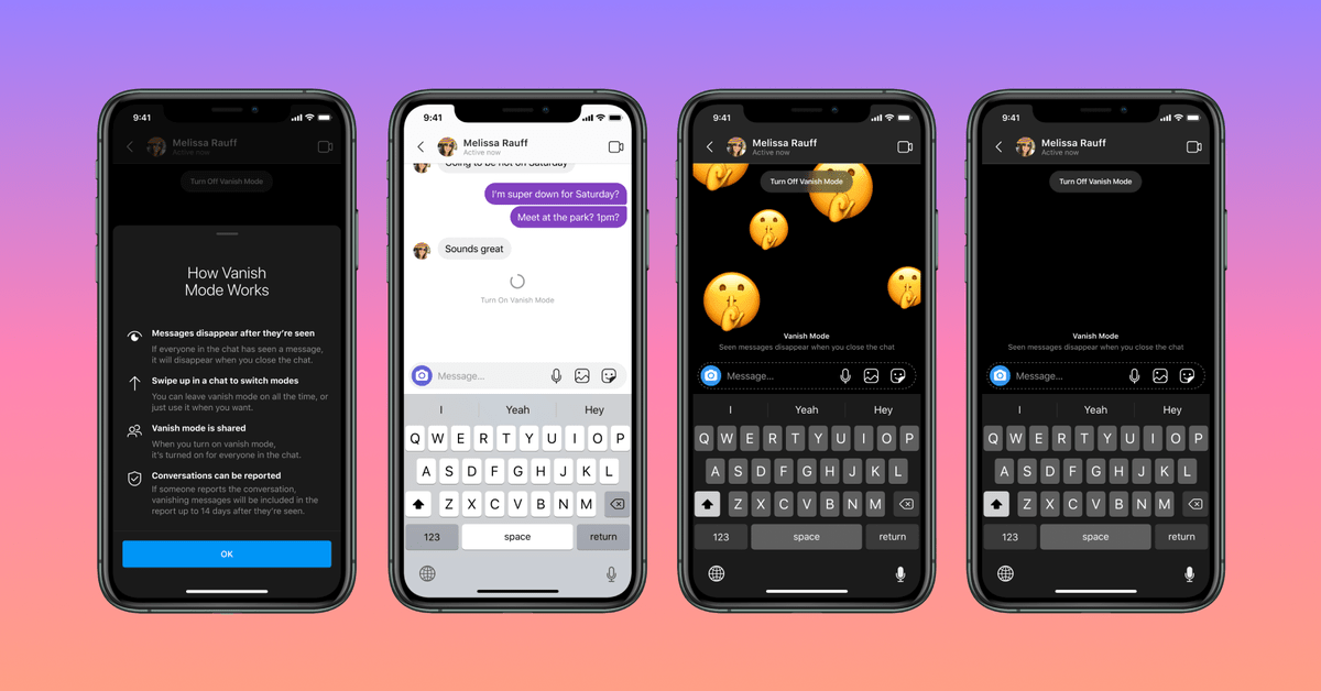 Facebook's Vanish Mode on Messenger and Instagram lets you send disappearing messages