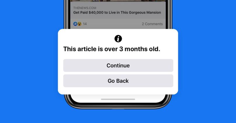 Facebook to warn users before they share old news articles 1