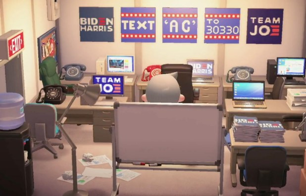Screenshots from inside the Biden-Harris 2020 campaign headquarters at Animal Crossing: New Horizons