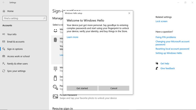 Finestra di Windows Hello