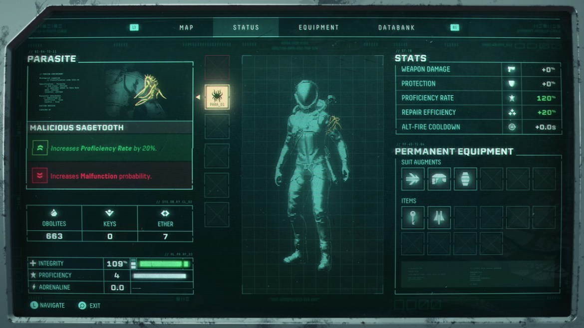 A parasite information screen in Returnal